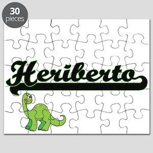Heriberto Classic Name Design with Dinosaur Puzzle