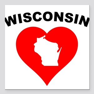 "Wisconsin Heart Cutout Square Car Magnet 3"" x 3"""