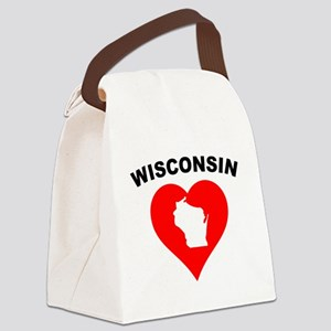 Wisconsin Heart Cutout Canvas Lunch Bag