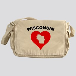 Wisconsin Heart Cutout Messenger Bag