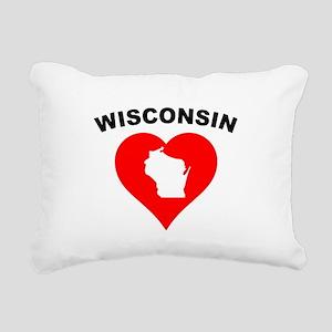 Wisconsin Heart Cutout Rectangular Canvas Pillow