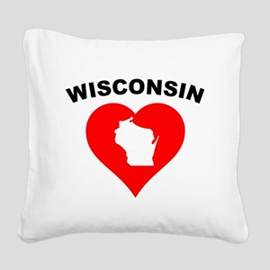Wisconsin Heart Cutout Square Canvas Pillow