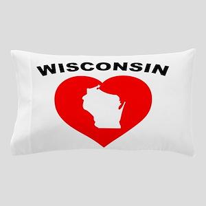 Wisconsin Heart Cutout Pillow Case