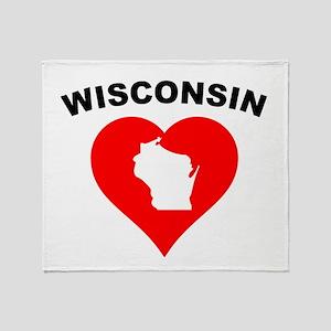 Wisconsin Heart Cutout Throw Blanket