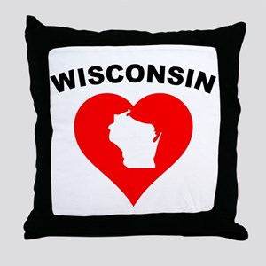 Wisconsin Heart Cutout Throw Pillow