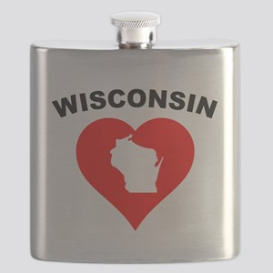 Wisconsin Heart Cutout Flask