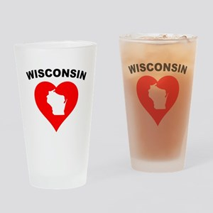 Wisconsin Heart Cutout Drinking Glass