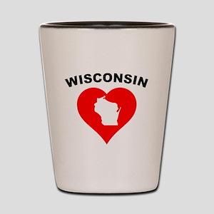 Wisconsin Heart Cutout Shot Glass
