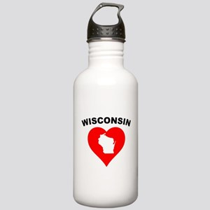 Wisconsin Heart Cutout Water Bottle