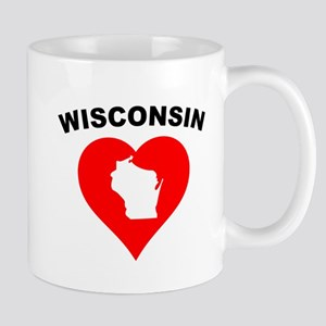 Wisconsin Heart Cutout Mugs