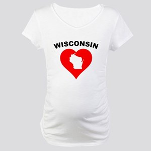 Wisconsin Heart Cutout Maternity T-Shirt