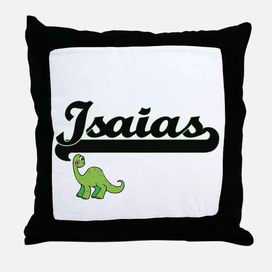 Isaias Classic Name Design with Dinos Throw Pillow