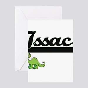 Issac Classic Name Design with Dino Greeting Cards