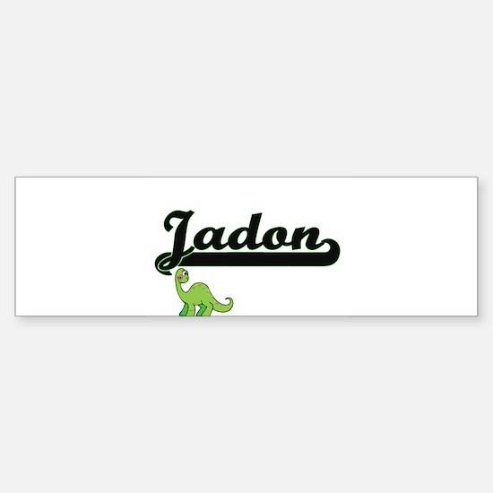 Jadon Classic Name Design with Dino Bumper Bumper Bumper Sticker