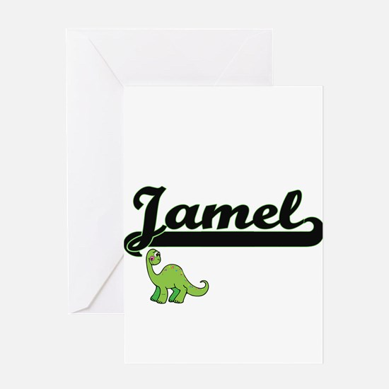 Jamel Classic Name Design with Dino Greeting Cards
