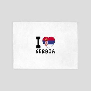 I Love Serbia 5'x7'Area Rug
