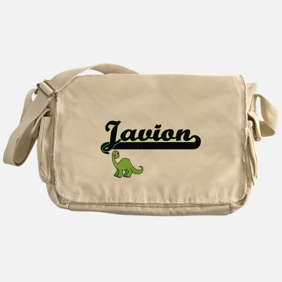 Javion Classic Name Design with Dino Messenger Bag