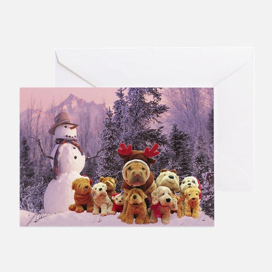 Snowman Shar Pei Greeting Card