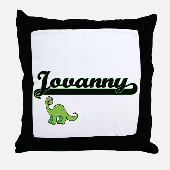 Jovanny Classic Name Design with Dino Throw Pillow