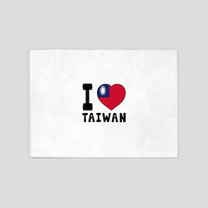 I Love Taiwan 5'x7'Area Rug