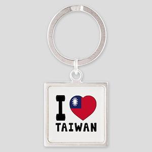 I Love Taiwan Square Keychain