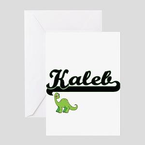Kaleb Classic Name Design with Dino Greeting Cards
