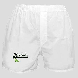 Kaleb Classic Name Design with Dinosa Boxer Shorts