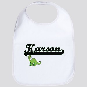 Karson Classic Name Design with Dinosaur Bib