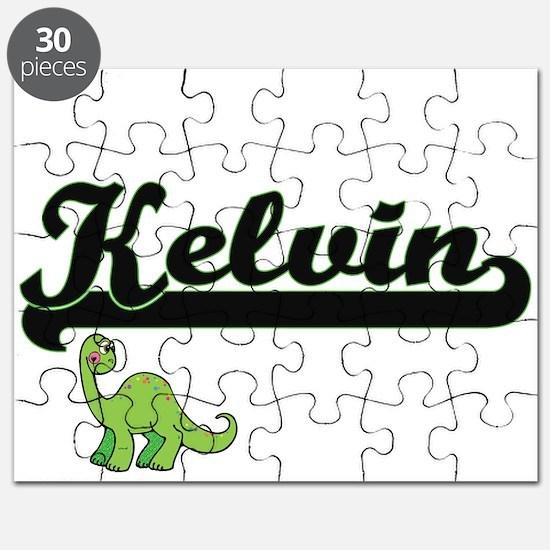 Kelvin Classic Name Design with Dinosaur Puzzle