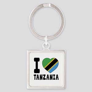 I Love Tanzania Square Keychain