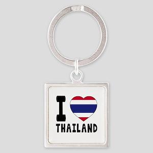 I Love Thailand Square Keychain