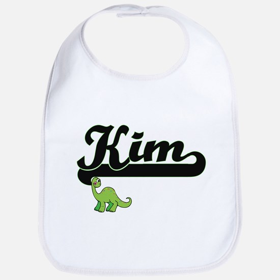 Kim Classic Name Design with Dinosaur Bib