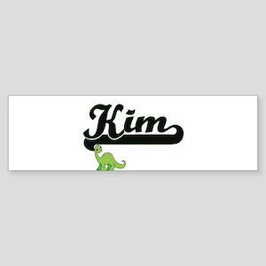 Kim Classic Name Design with Dinosa Bumper Sticker