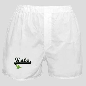 Kole Classic Name Design with Dinosau Boxer Shorts
