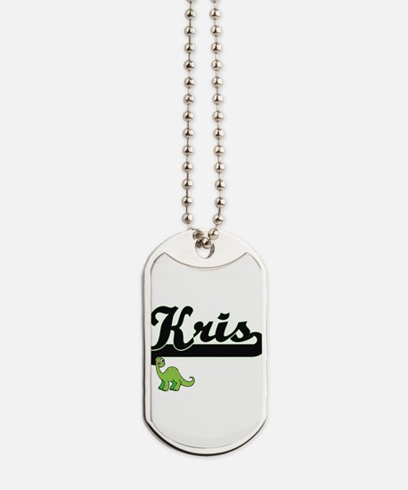 Kris Classic Name Design with Dinosaur Dog Tags