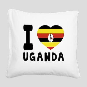 I Love Uganda Square Canvas Pillow