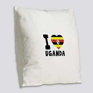 I Love Uganda Burlap Throw Pillow