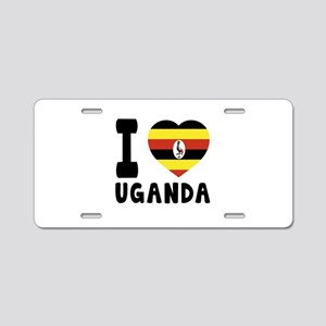 I Love Uganda Aluminum License Plate