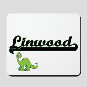 Linwood Classic Name Design with Dinosau Mousepad