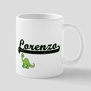 Lorenzo Classic Name Design with Dinosaur Mugs