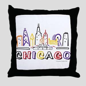 Chicago Fun Skyline Throw Pillow