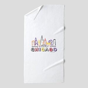 Chicago Fun Skyline Beach Towel
