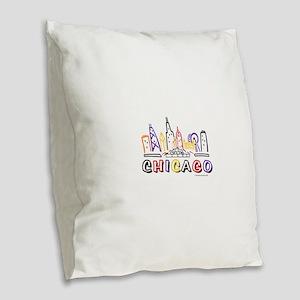 Chicago Fun Skyline Burlap Throw Pillow