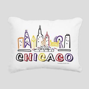 Chicago Fun Skyline Rectangular Canvas Pillow