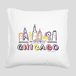 Chicago Fun Skyline Square Canvas Pillow