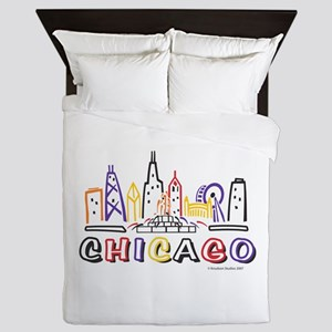 Chicago Fun Skyline Queen Duvet