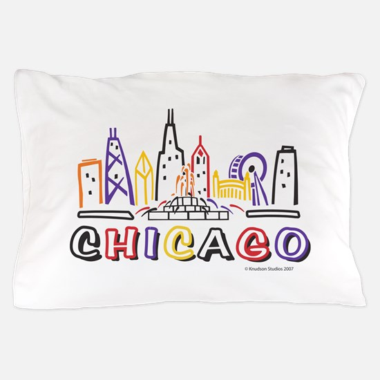 Chicago Fun Skyline Pillow Case