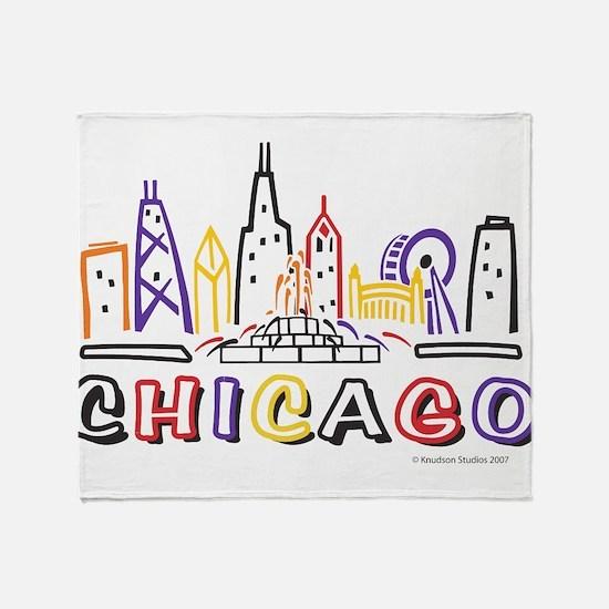 Chicago Fun Skyline Throw Blanket