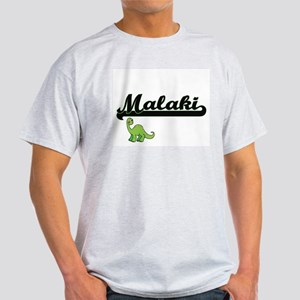 Malaki Classic Name Design with Dinosaur T-Shirt