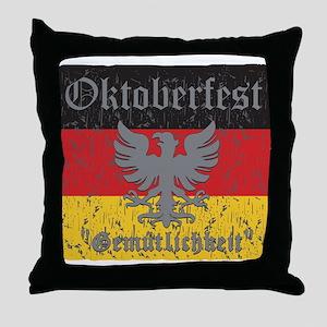 Oktoberfest Flag and Eagle Throw Pillow